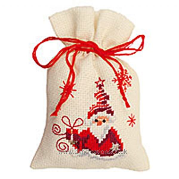 Santa With Present Pot Pourri Bag Cross Stitch Kit